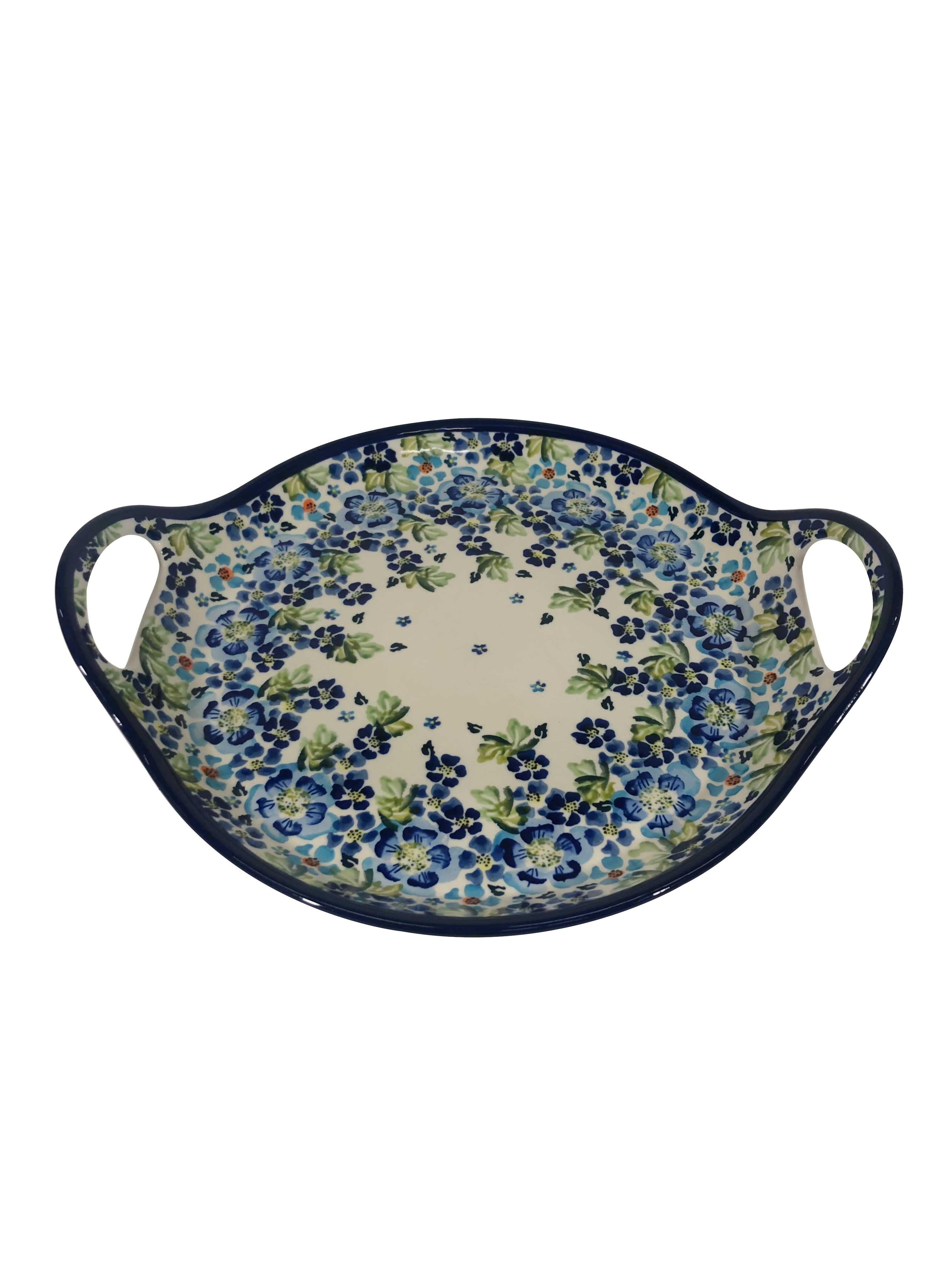 """Pottery Avenue True Blues Handled 12.6"""" Round Stoneware Serving Tray"""