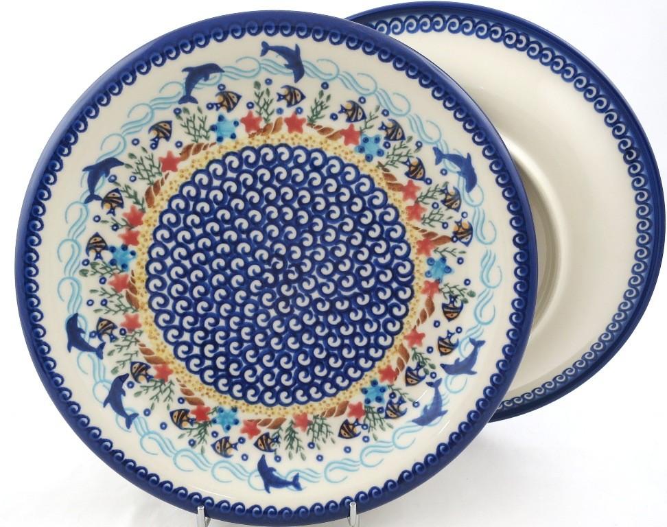 "Pottery Avenue Vena Dolphin 10.25"" Dinner Stoneware Plate"