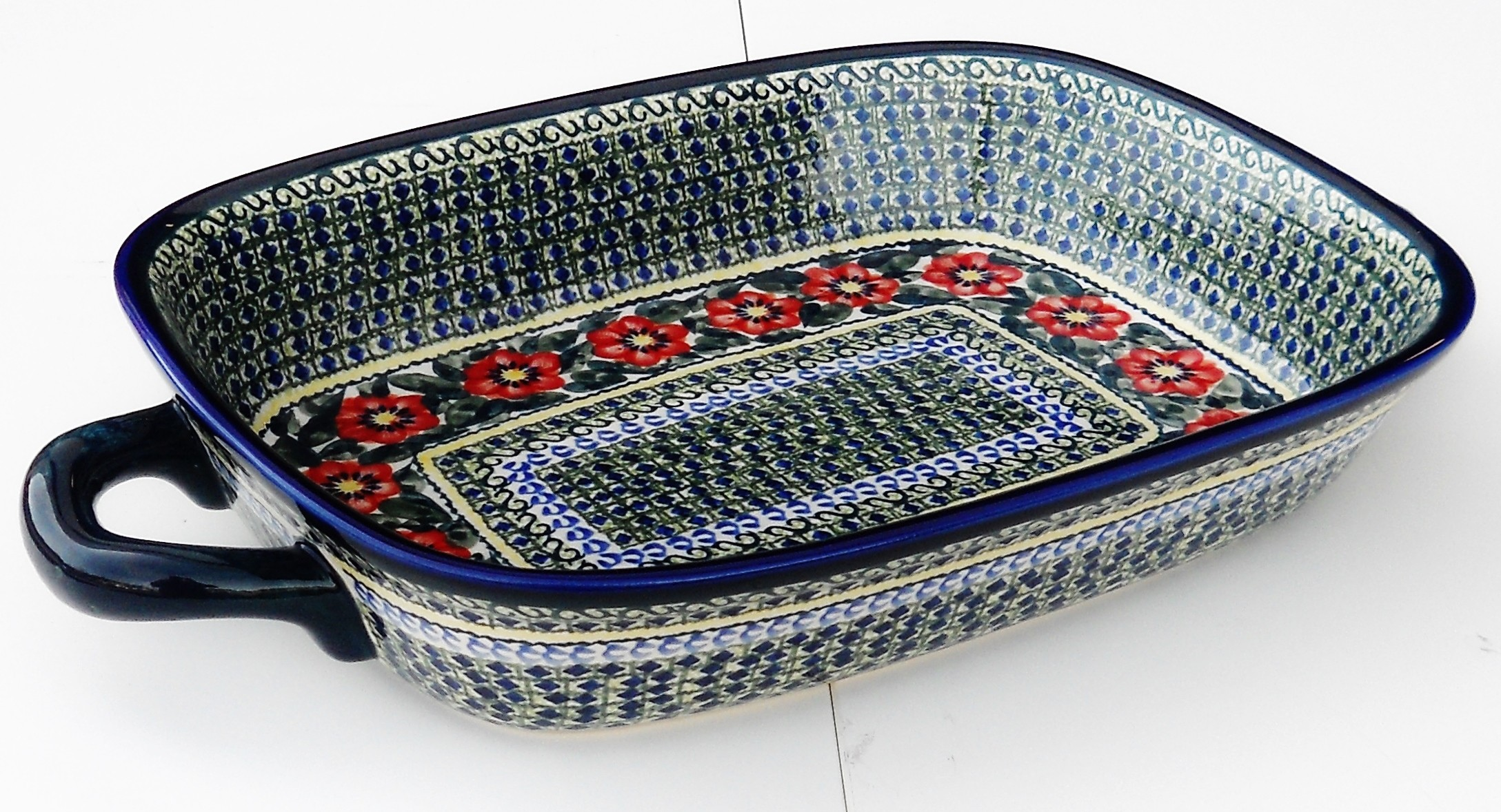 "Polish Pottery 14"" PASSION Serving Trays With Handles 
