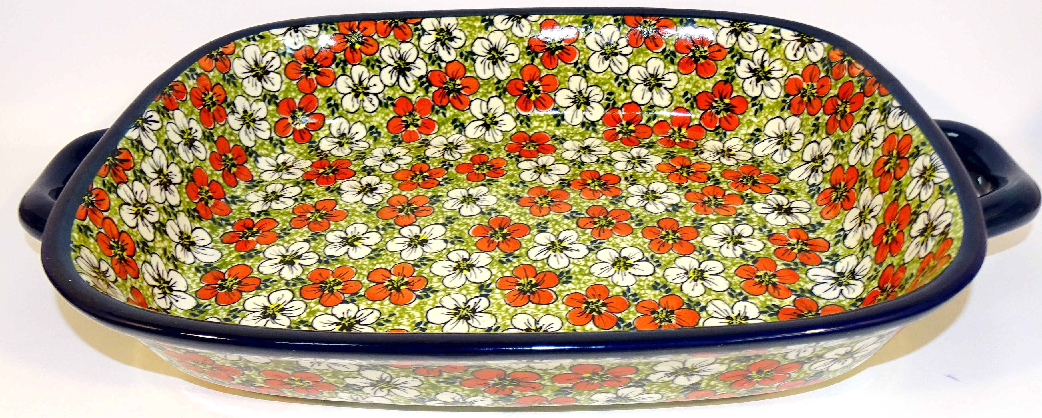 """Polish Pottery 14"""" RED BACOPA Serving Trays With Handles 