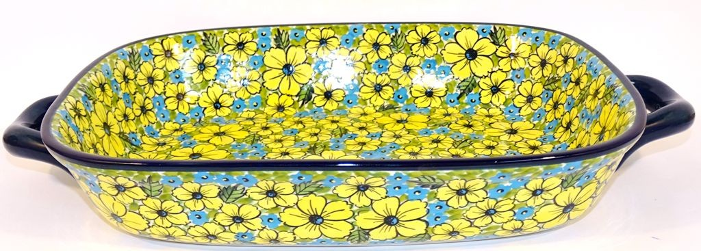 "Polish Pottery 14"" BLUE CITRINE Serving Trays With Handles 