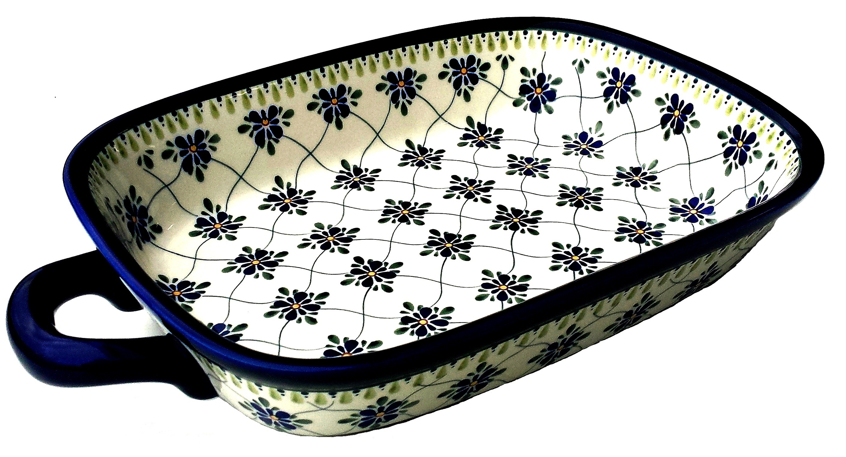 "Polish Pottery SWEETHEART 14"" Stoneware Baking-Roasting Dish 