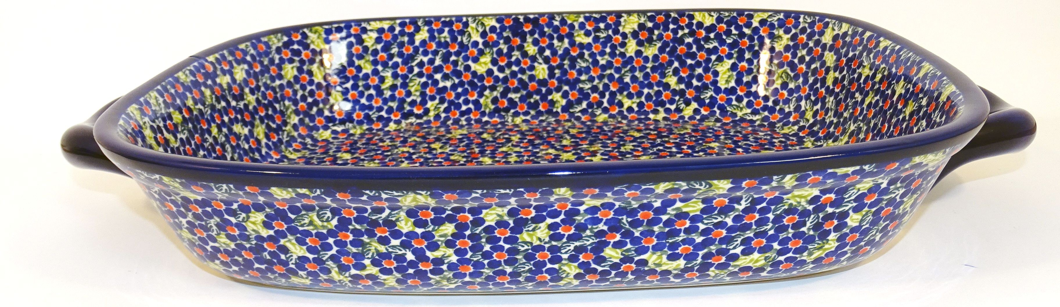 """Polish Pottery 14"""" FRIENDSHIP Serving Trays With Handles 