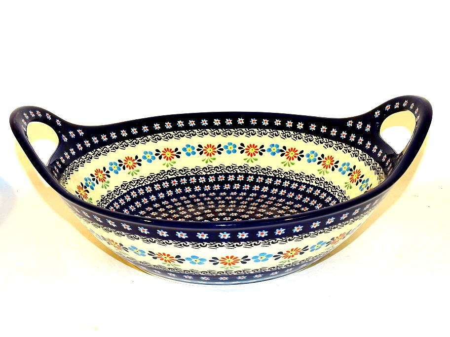 "Pottery Avenue 13"" HERITAGE Baker Bowl With Handle 