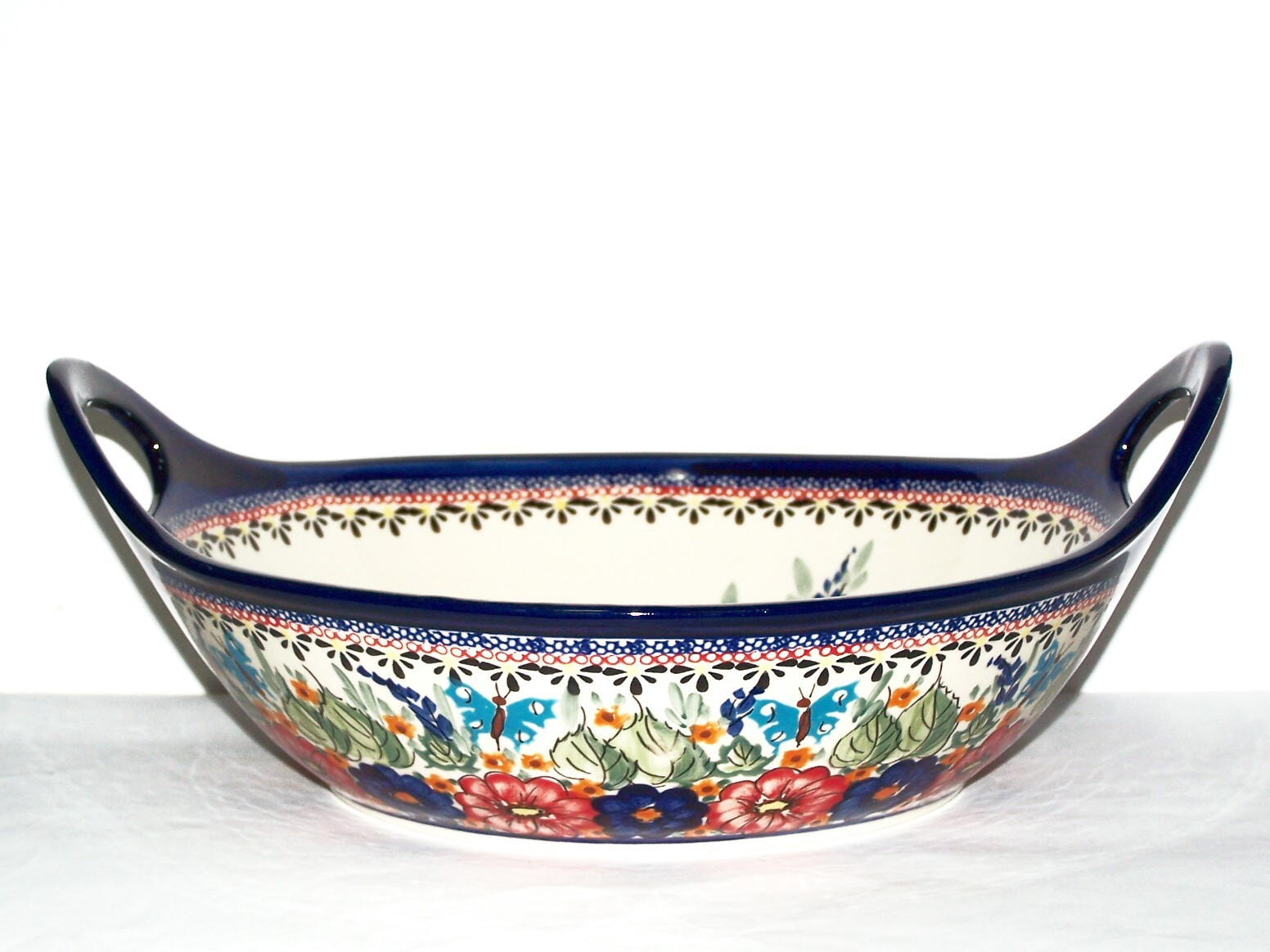 "Pottery Avenue 13"" BUTTERFLY MERRYMAKING Baker Bowl With Handle 