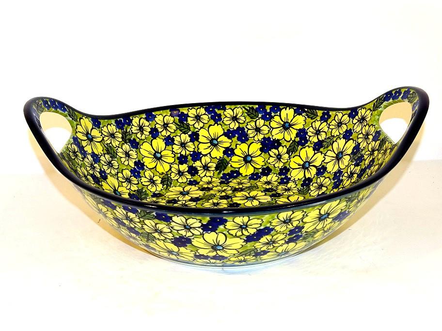 "Pottery Avenue 13"" BLUE CITRINE Baker Bowl With Handle | UNIKAT"