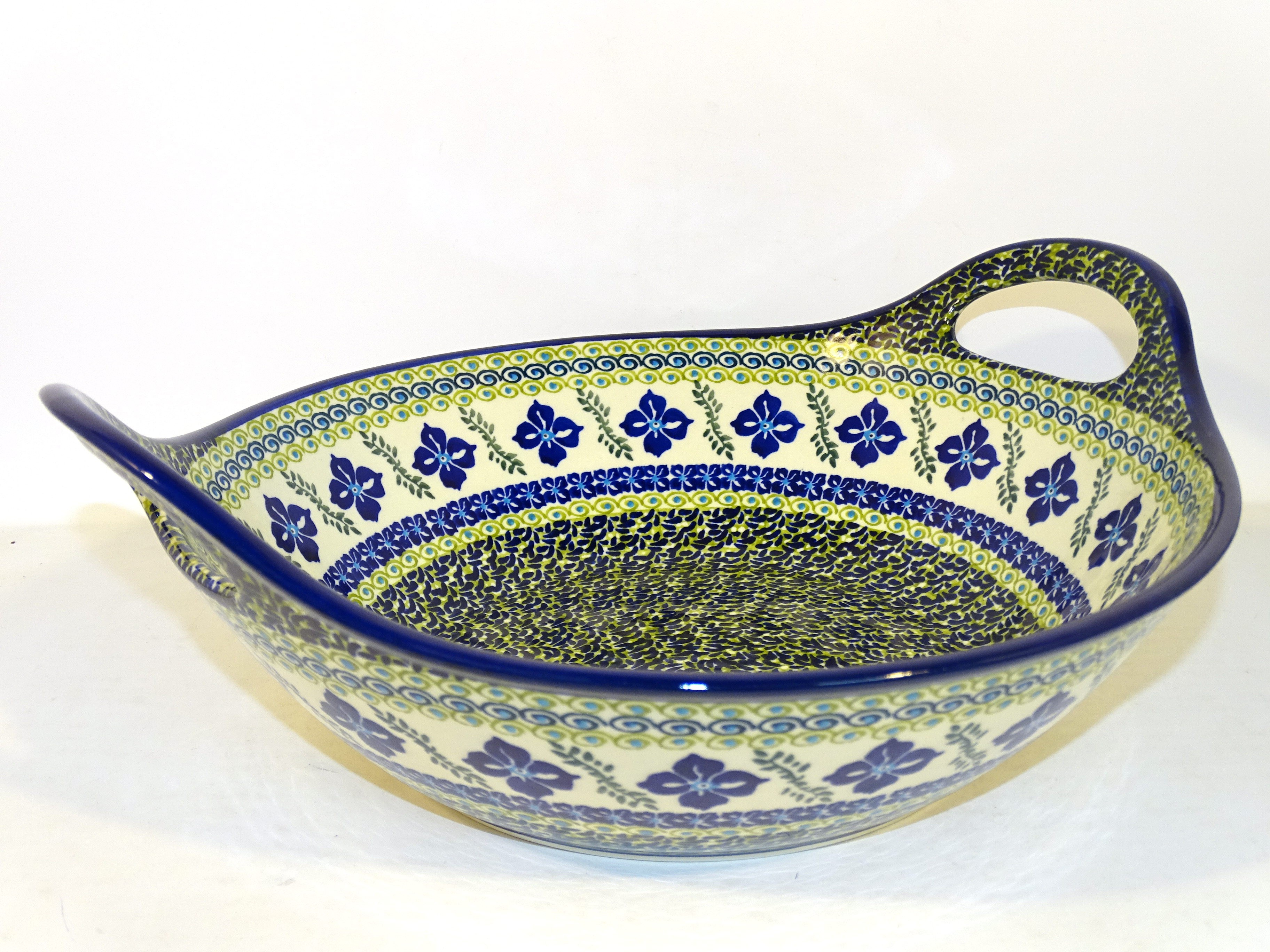 """Pottery Avenue 13""""  FLORAL ROYAL Stoneware Bowls With Handles 