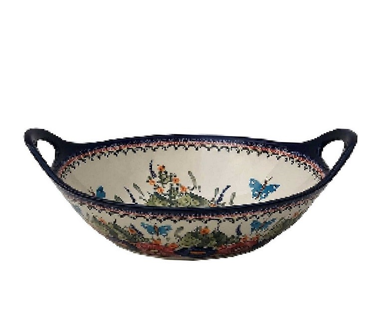 "Pottery Avenue Butterfly Merry Making 13"" Handled Stoneware Baker 