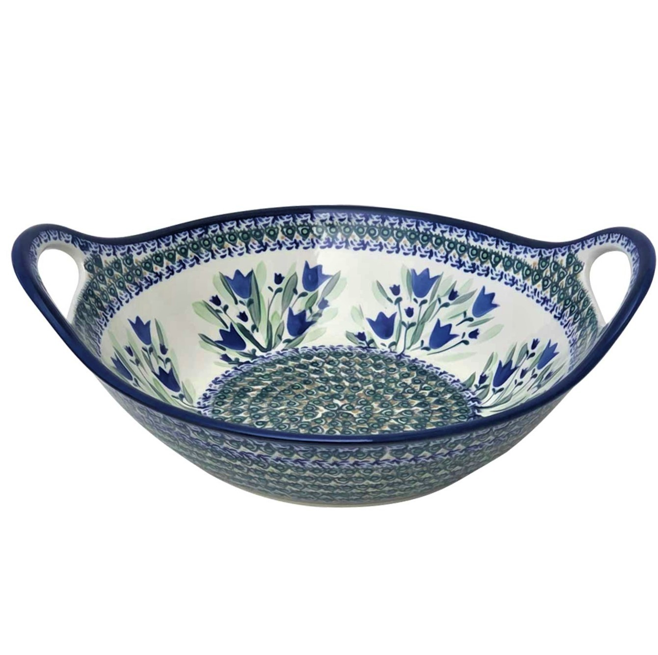 Pottery Avenue 13-inch Handled Stoneware Baker-Serving Bowl - 1347-160AR Blue Tulip