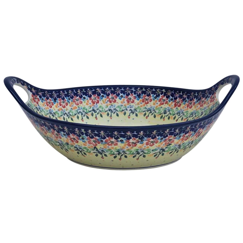 Pottery Avenue 13-inch Handled Stoneware Baker-Serving Bowl - 1347-262AR Flowering Splendor