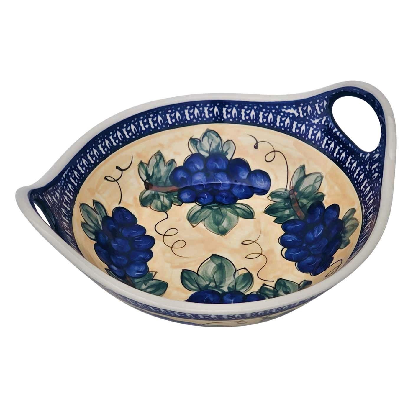 "Pottery Avenue Grapes 13"" Handled Stoneware Bowl"