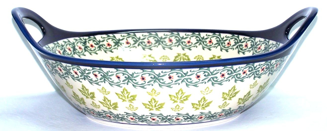 "Pottery Avenue 13"" MAPLE LEAFING Baker Bowl With Handle 