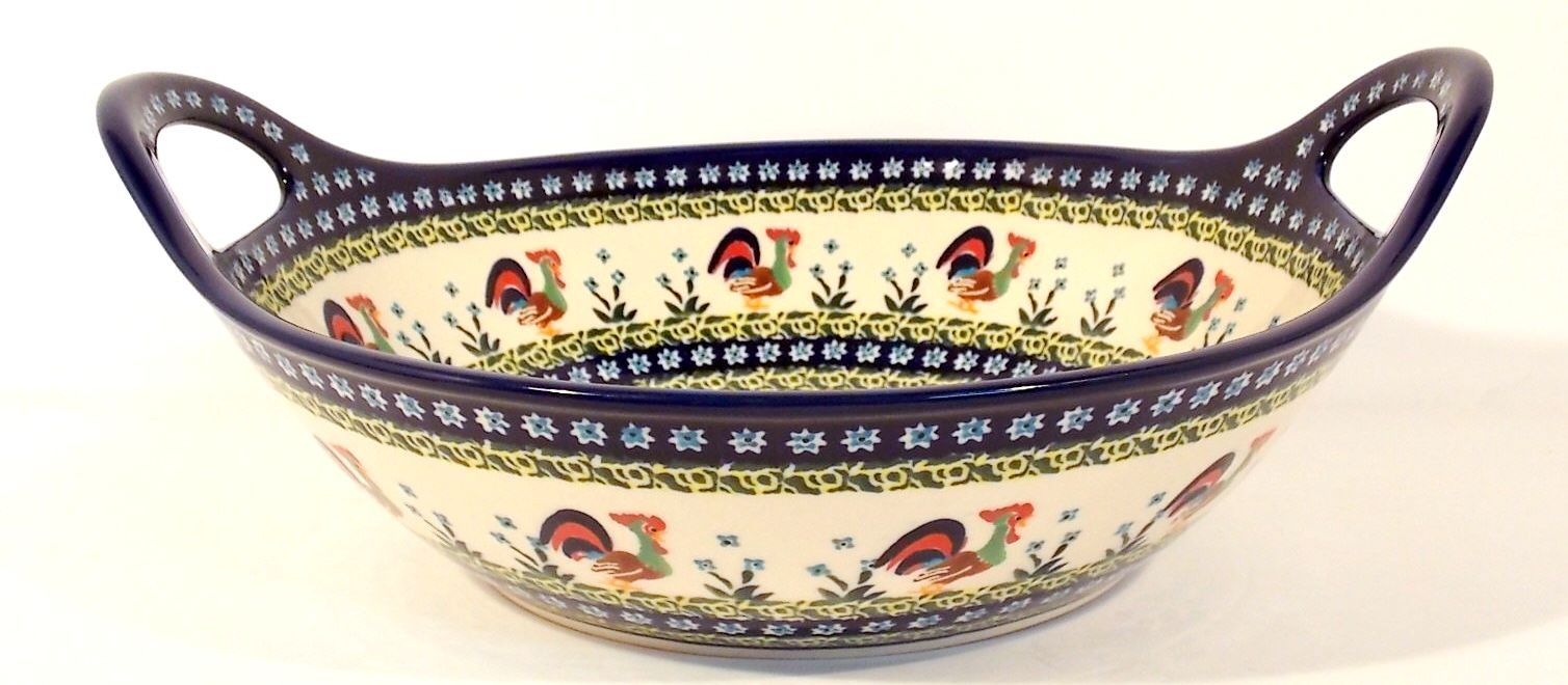 "Polish Pottery ROOSTER 13"" Handled Stoneware Baker-Serving Bowl 