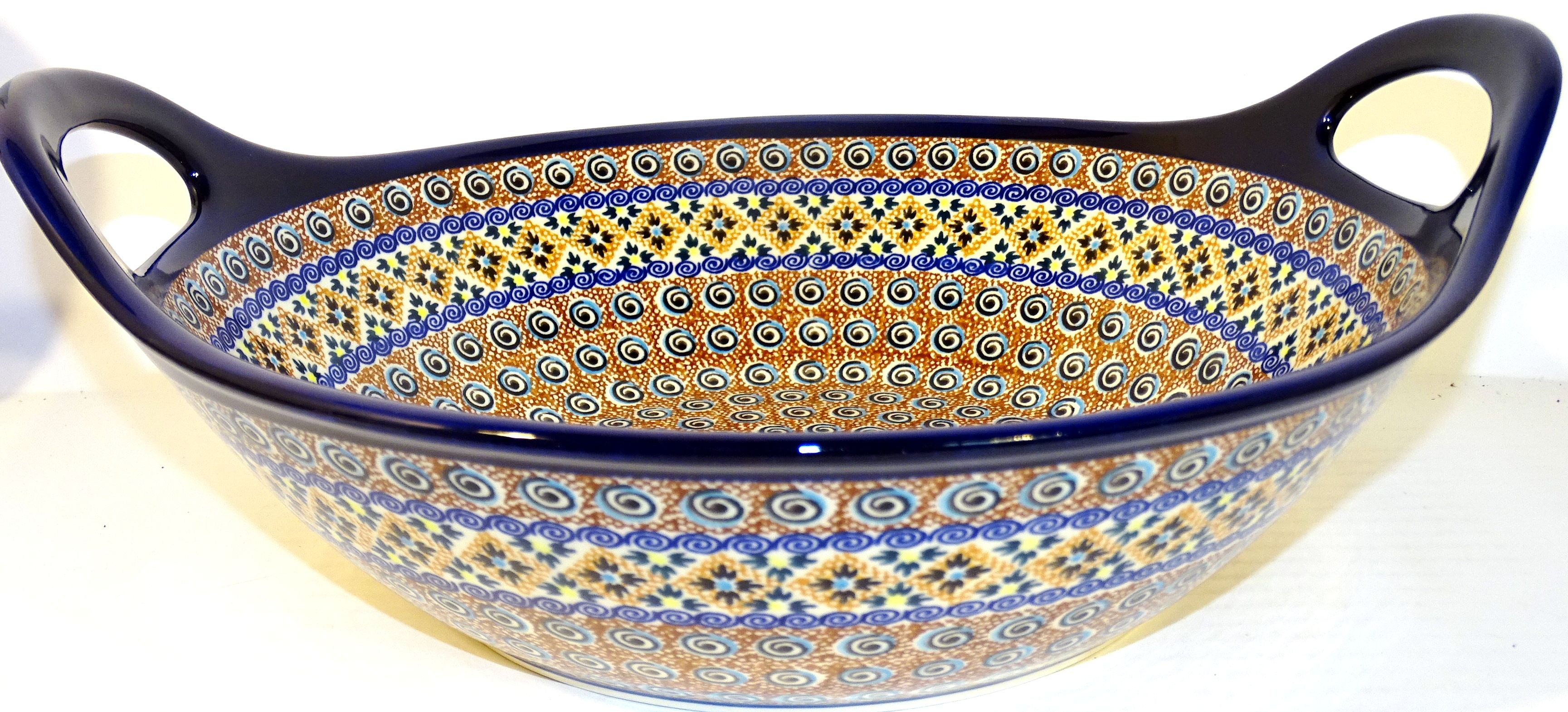 "Pottery Avenue 13"" INDIA Stoneware Bowls With Handles 
