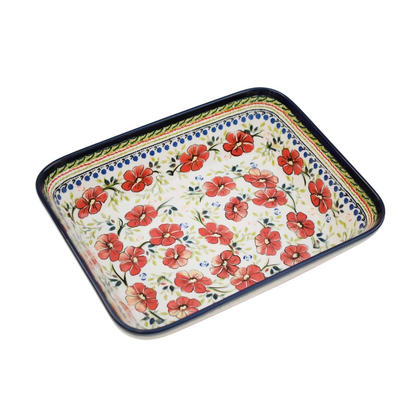 "Pottery Avenue 10"" x 12"" Rectangular Stoneware Bake-n Serve Baker - 1351-252EX Love Blossoms"