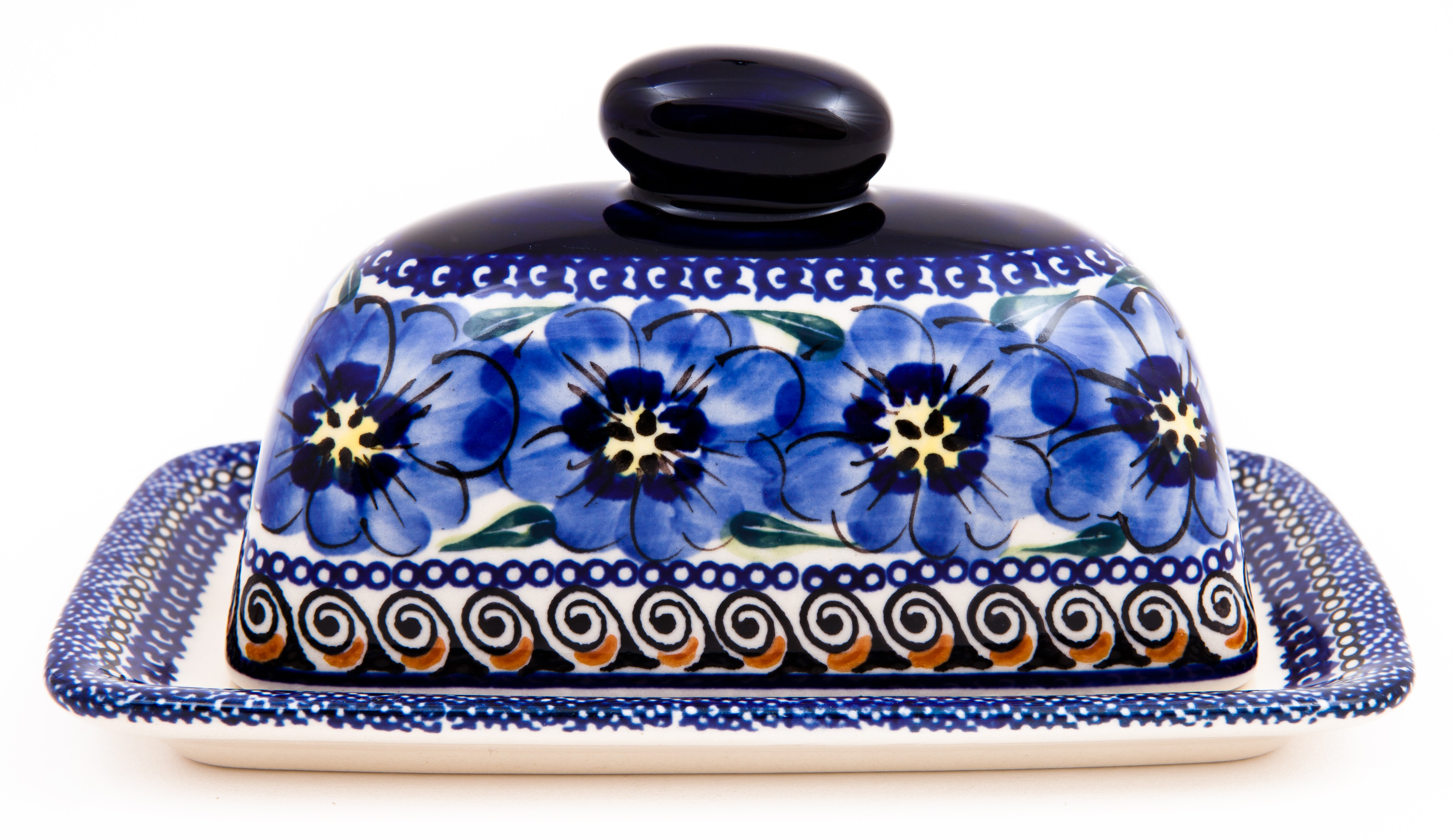 Pottery Avenue 2pc Covered Stoneware Butter Dish - 1377-148AR Blue Pansy