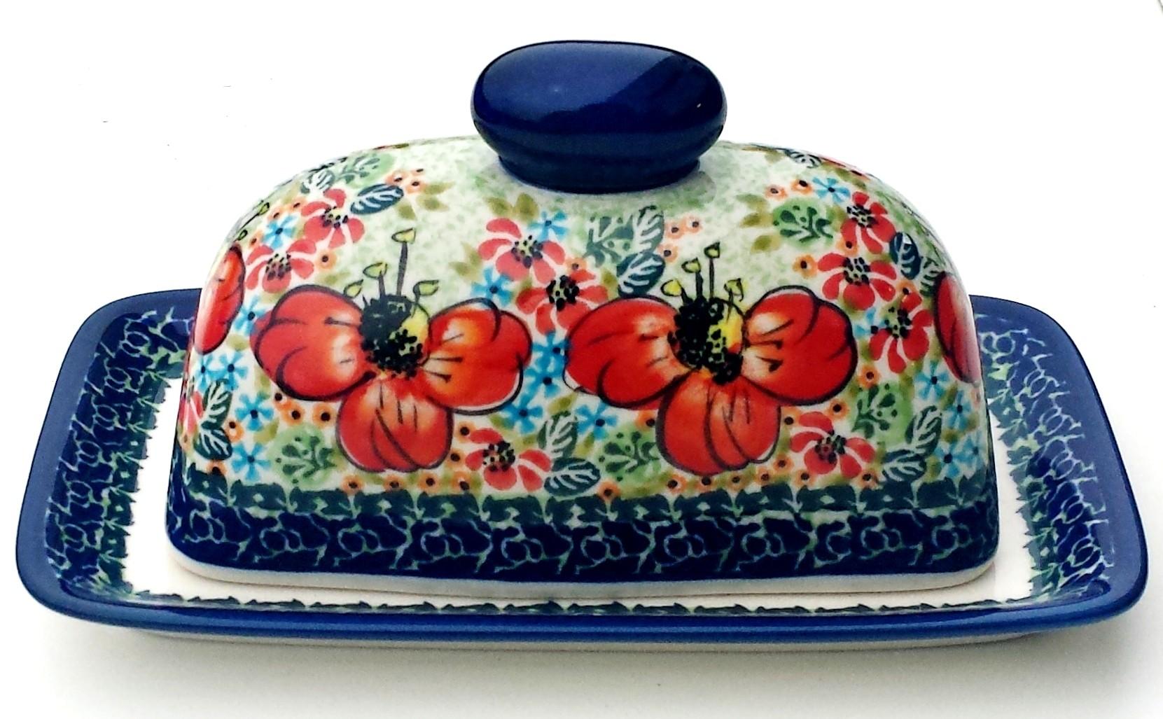 Polish Pottery CHAMPAGNE Covered Butter Dish | UNIKAT
