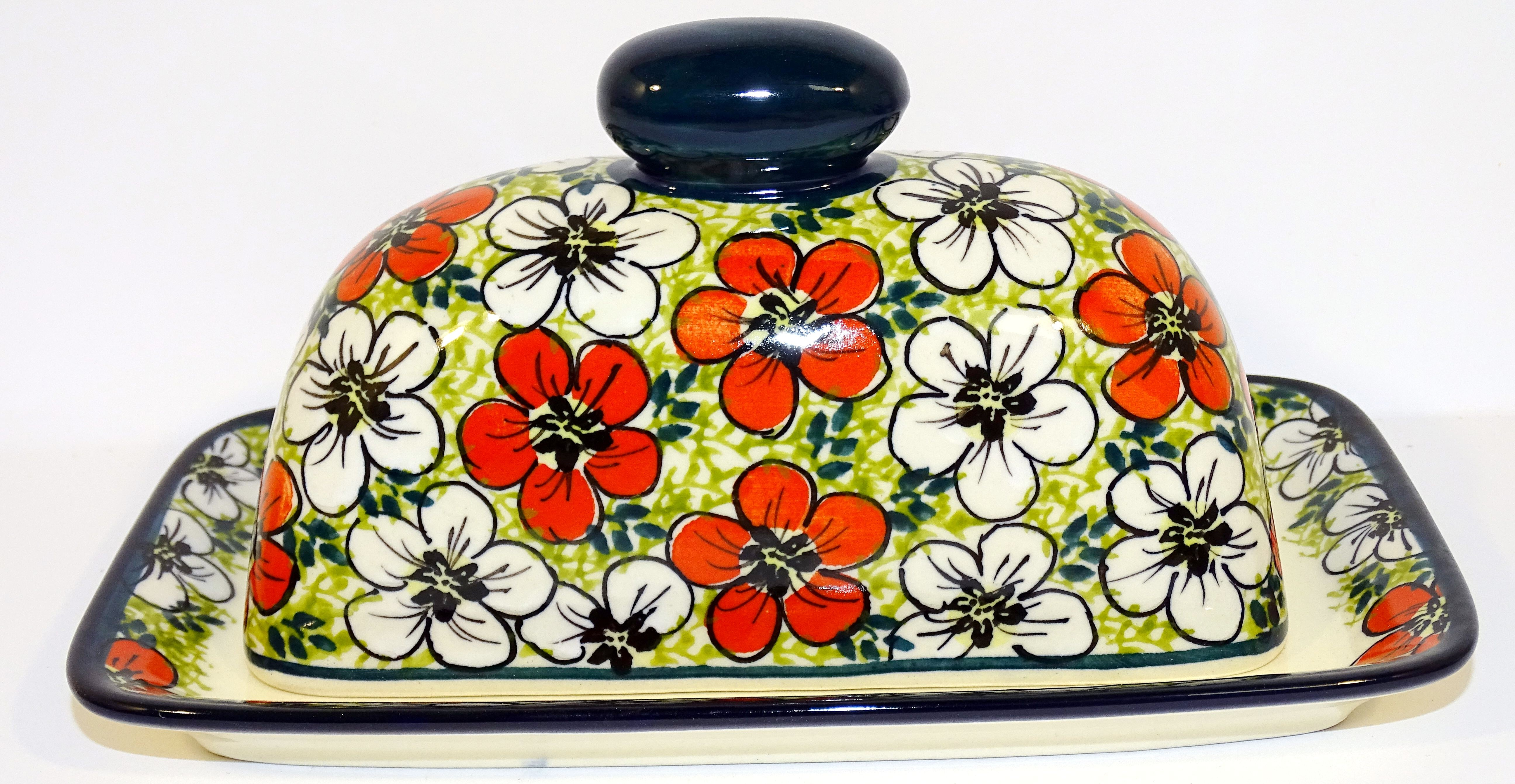 Pottery Avenue 2-Piece Covered Stoneware Butter Dish - 1377-331AR Red Bacon