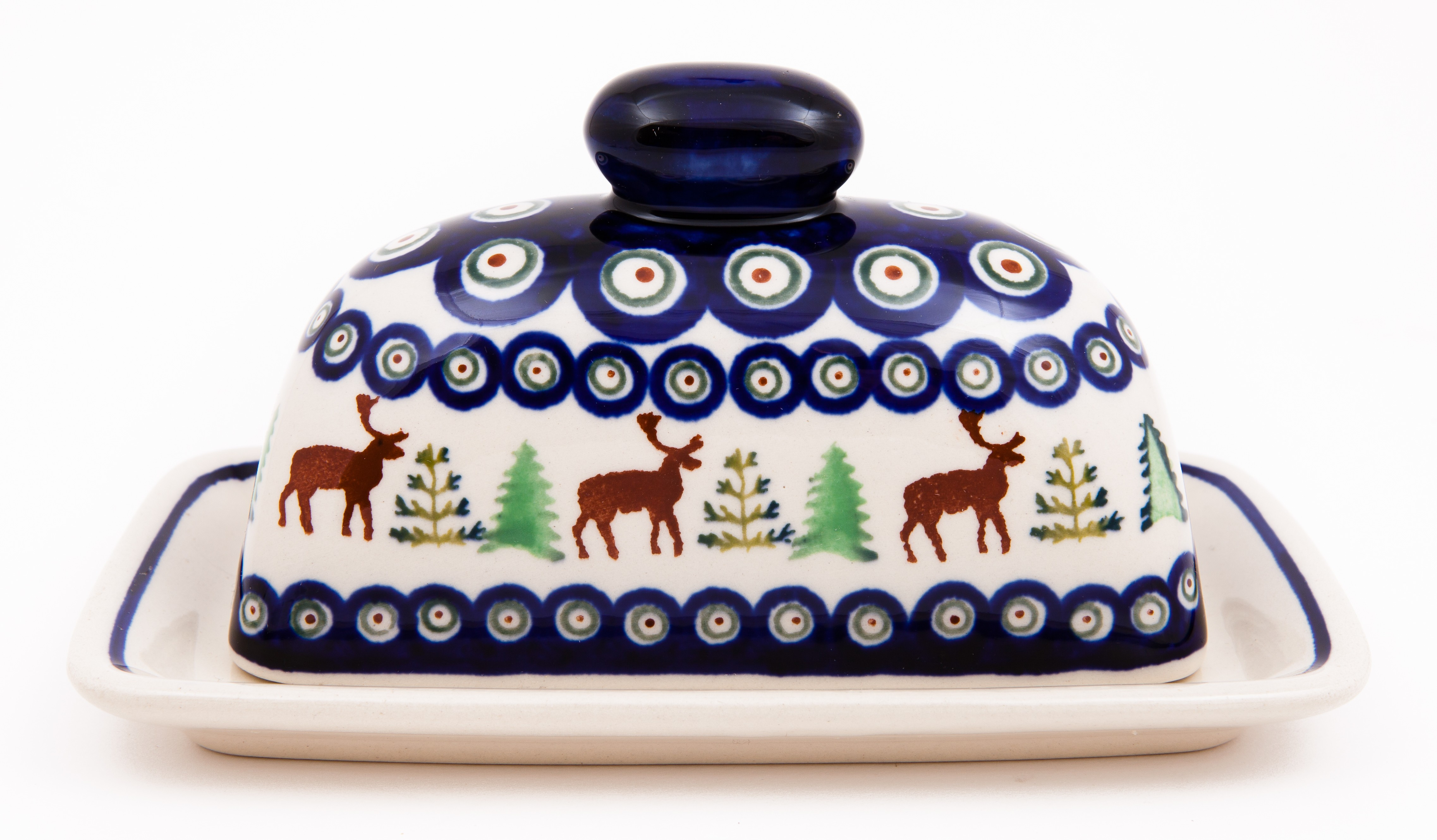 Polish Pottery CARIBOU LODGE Covered Butter Dish | CLASSIC