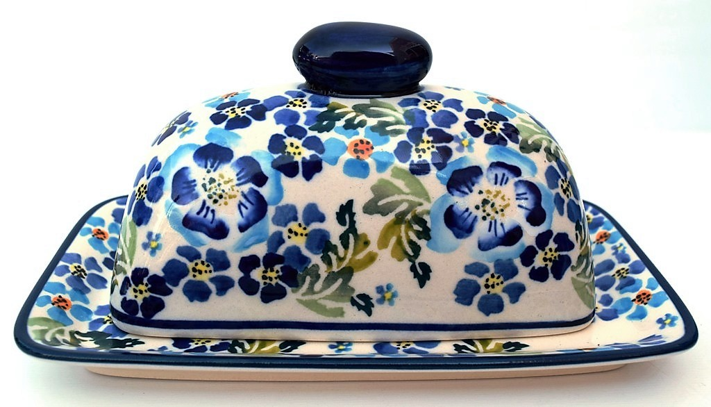 Pottery Avenue True Blues 2pc Covered Stoneware Butter Dish
