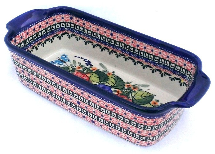 Polish Pottery BUTTERFLY MERRY MAKING 5-Cup Stoneware Loaf Pan | UNIKAT