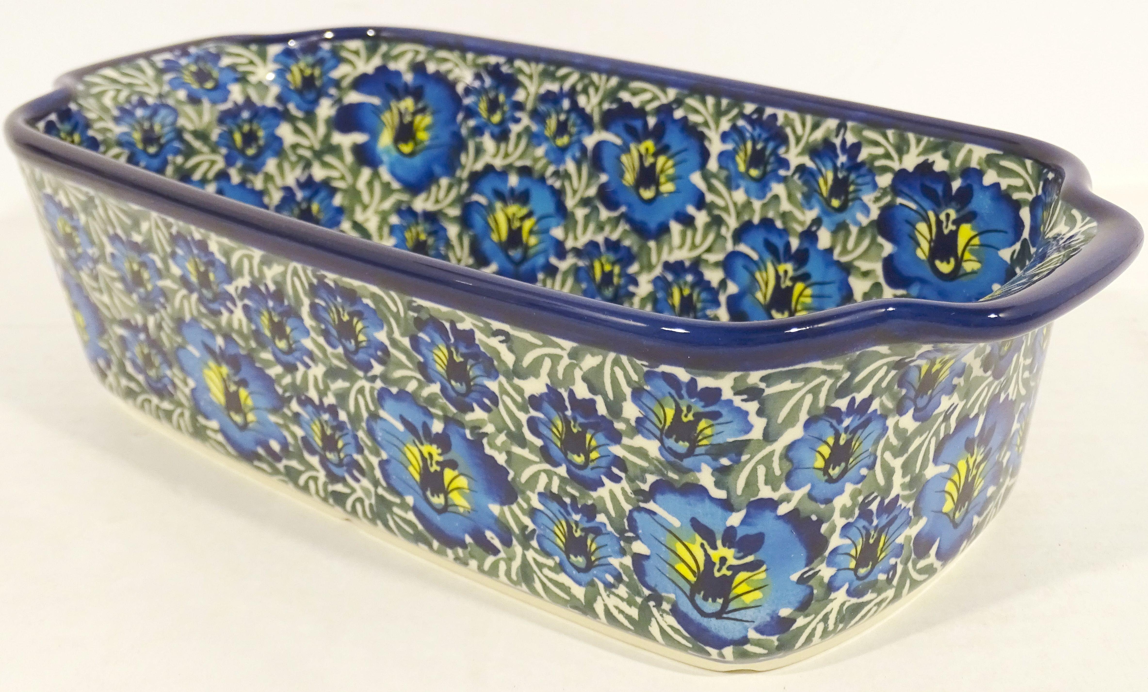 Polish Pottery 5 Cup BLUE LAGOON Stoneware Loaf Pan | UNIKAT