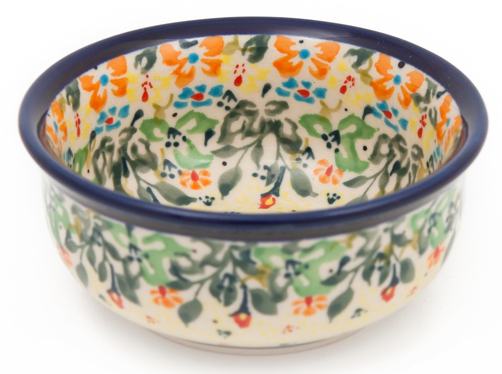 "Pottery Avenue Stoneware 3.5"" x 1.5"" Small 4oz Bowl - 1384-262AR FLOWERING SPLENDOR"