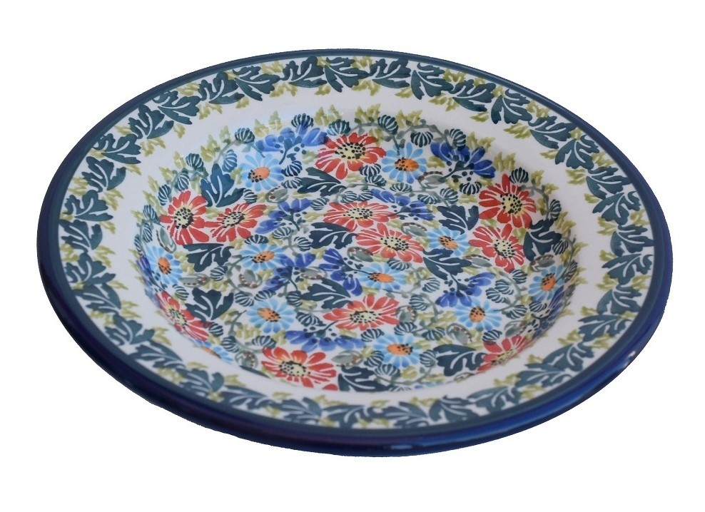 "Polish Pottery BLISS 9.5"" Soup-Pasta-Salad Stoneware Plate | UNIKAT"
