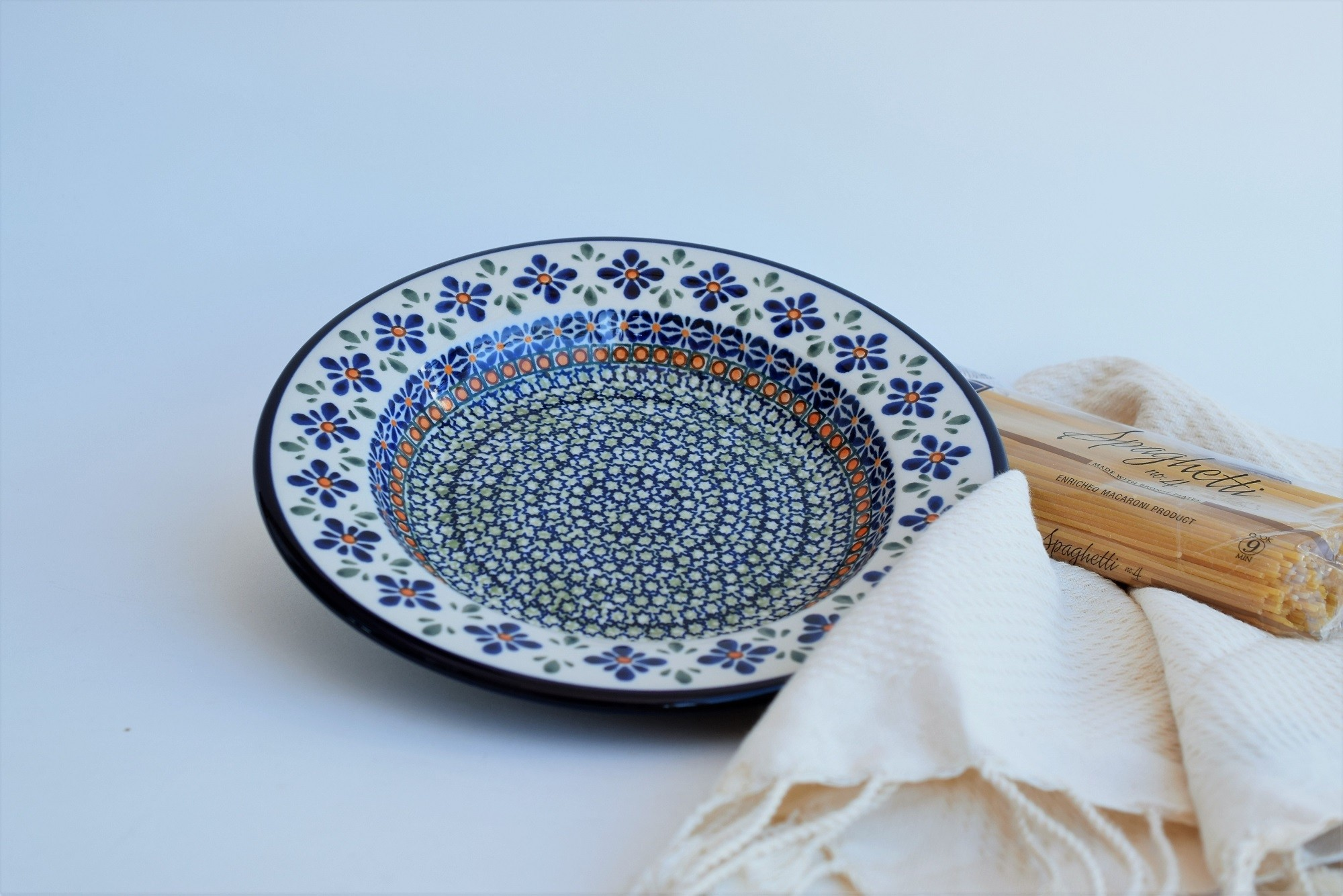 "Polish Pottery SWEETIE PIE 9.5"" Soup-Pasta-Salad Stoneware Plate 