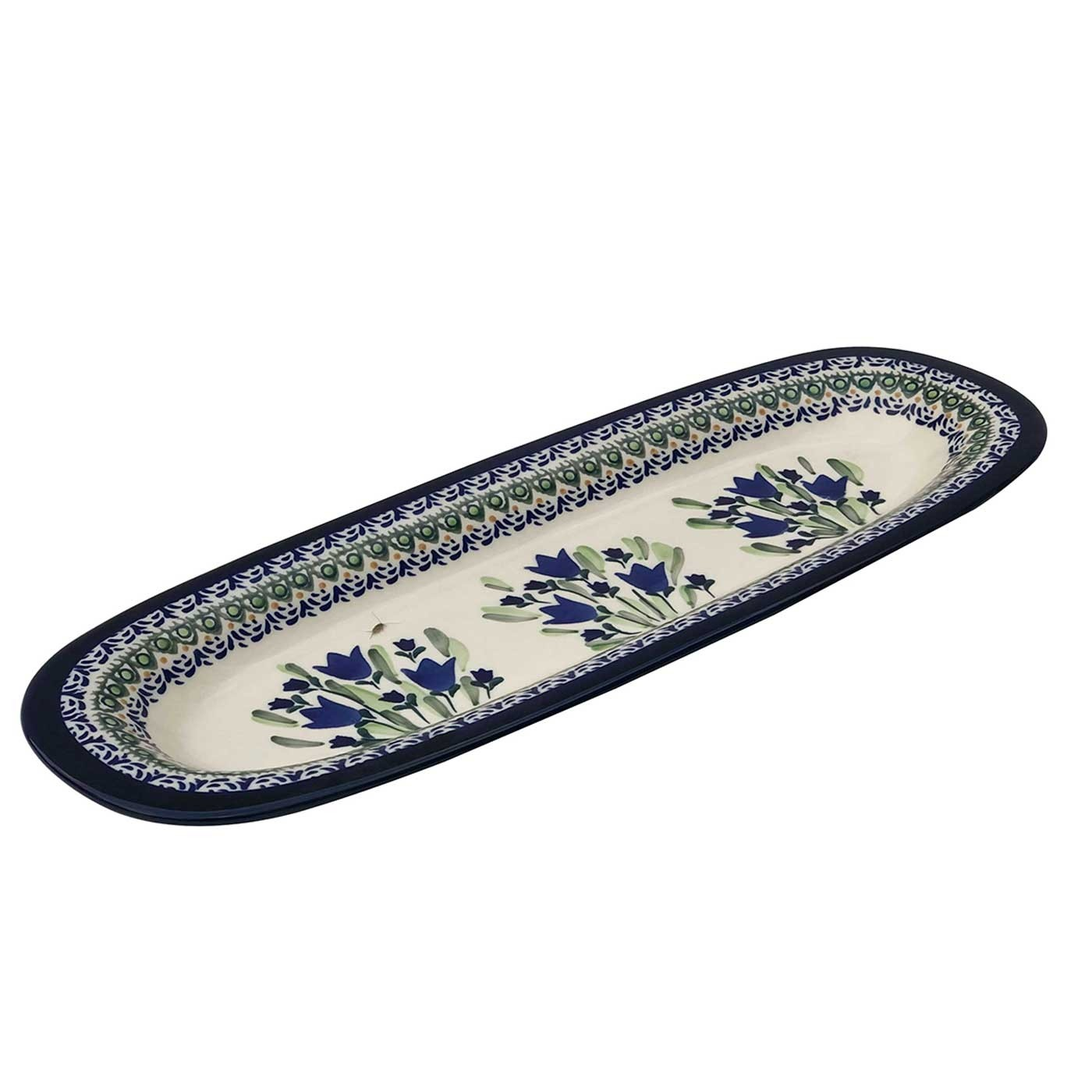 "Pottery Avenue Blue Tulip 15"" Stoneware Baguette Plate (SM)"