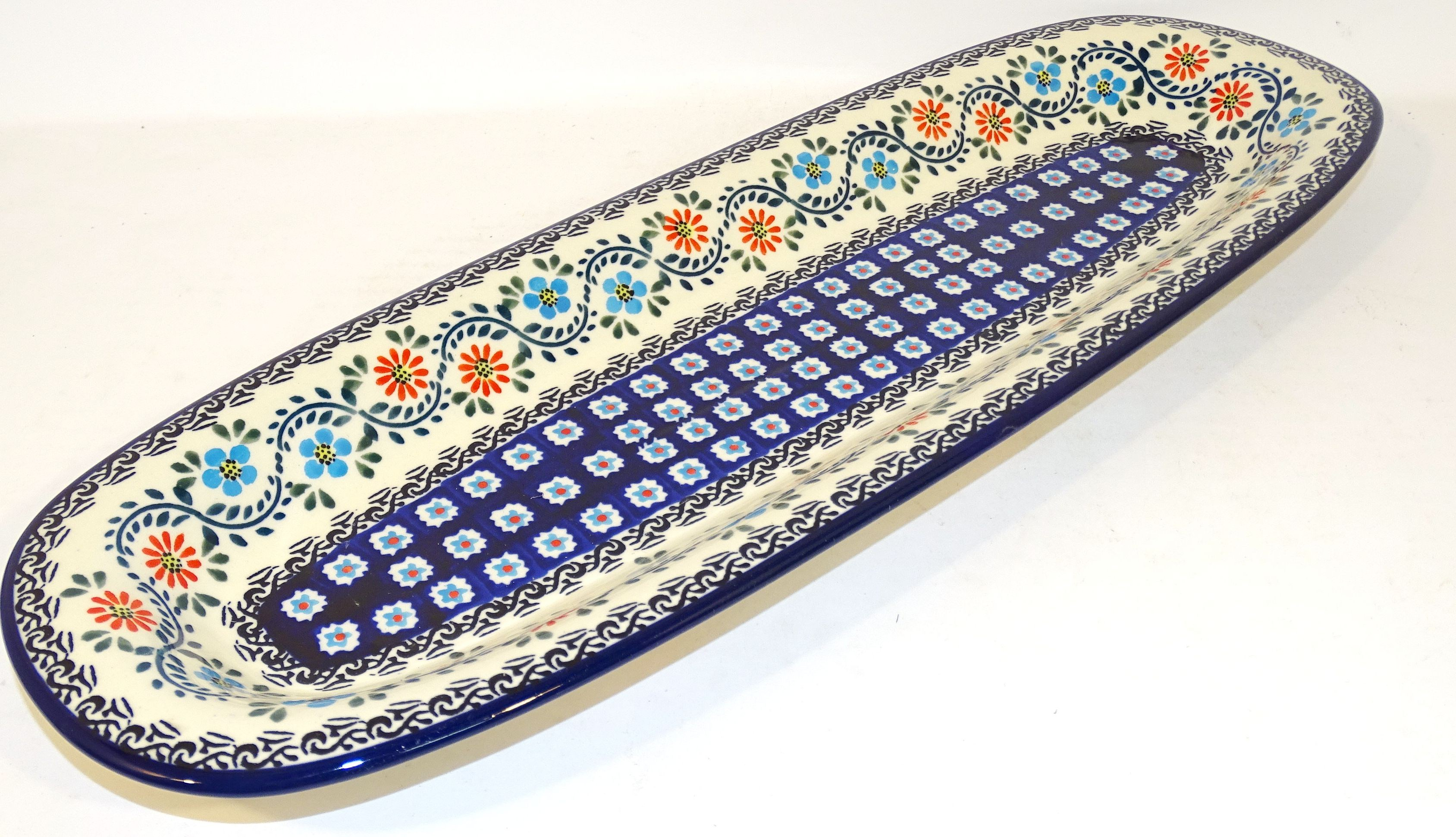 "Polish Pottery HERITAGE HOME 18"" Stoneware Baguette Plate 