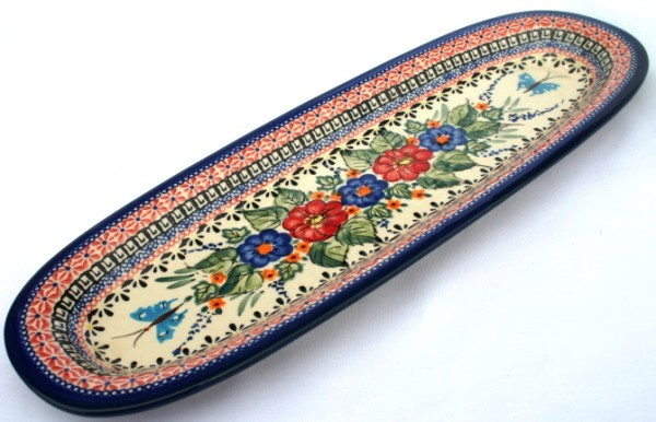 "Pottery Avenue17.5""x6"" Stoneware Baguette Platter - 1430-149AR Butterfly Merry Making"