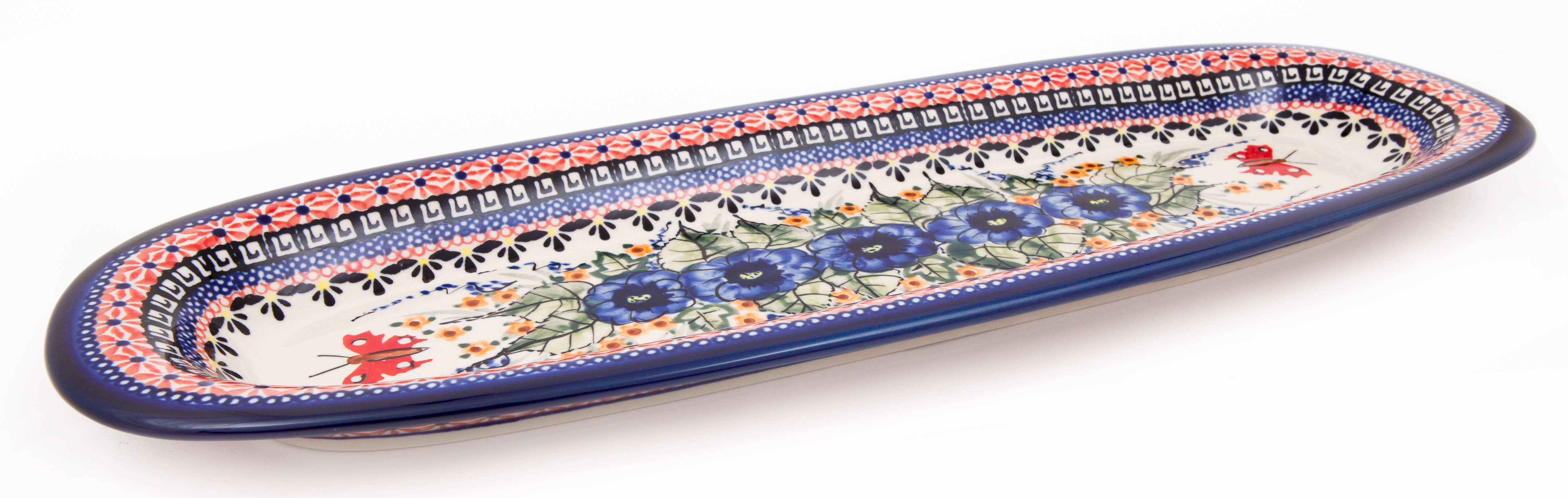 "Polish Pottery 18"" STRAWBERRY BUTTERFLY Baguette Platter 