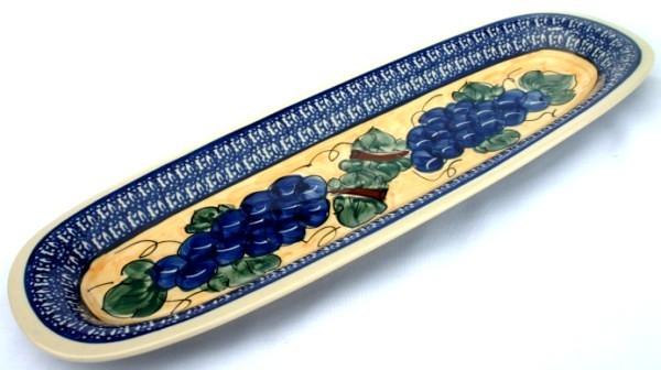 "Pottery Avenue Grapes 17.5"" x 6"" Baguette Stoneware Plate"