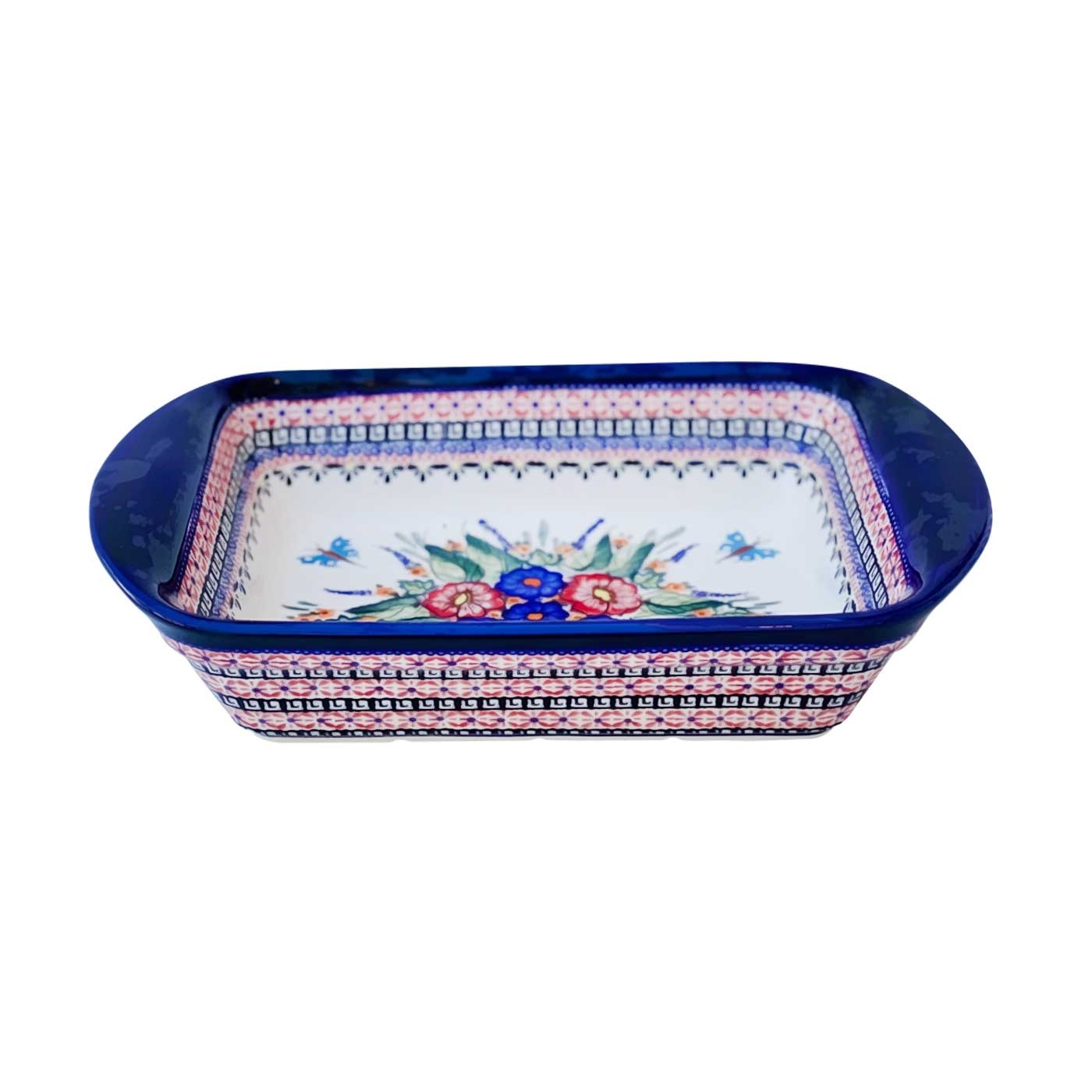 Pottery Avenue 14-inch Stoneware Handled Rectangular Serving-Baker - 1445-149AR Butterfly Merry Making