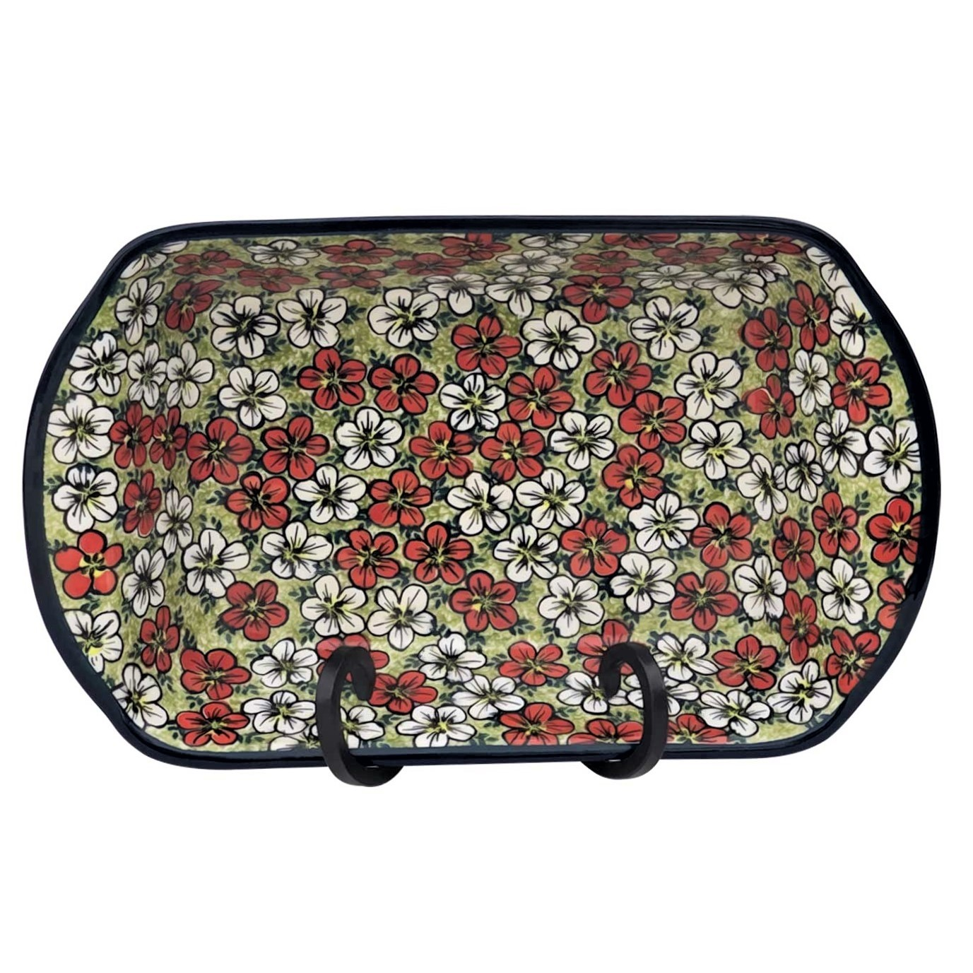 Pottery Avenue 14-inch Stoneware Handled Rectangular Serving-Baker - 1145-331AR Red Bacopa