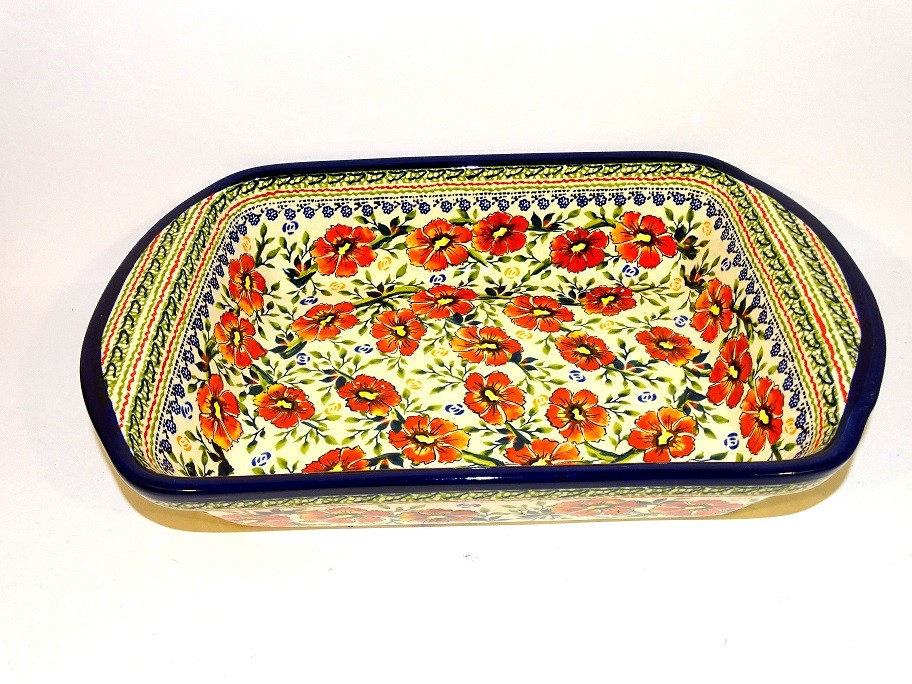 "Polish Pottery 14"" LOVE BLOSSOMS Stoneware Serving Dishes   EX UNIKAT"