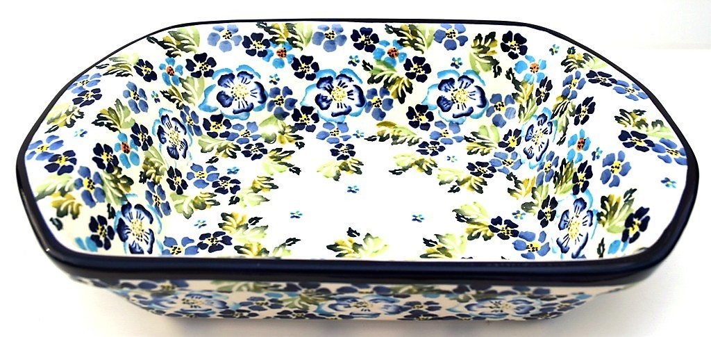 "Polish Pottery 8"" x 12"" TRUE BLUES Stoneware Serving Dishes 