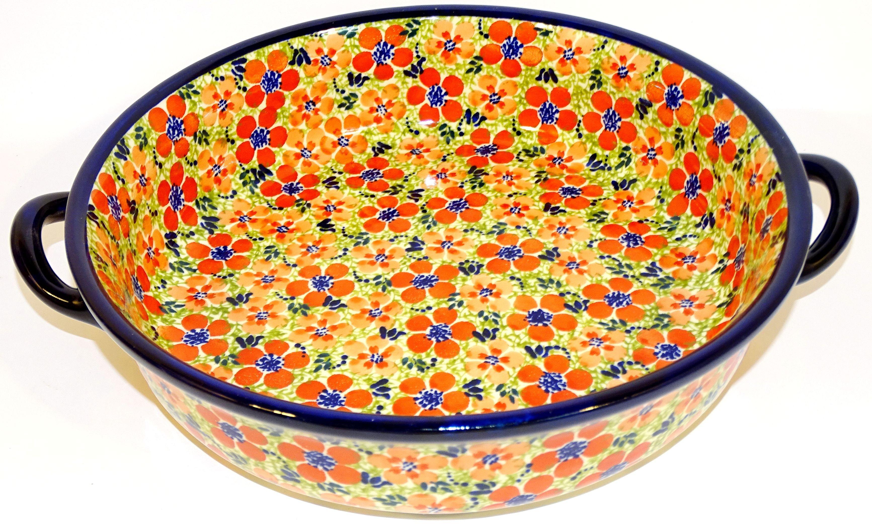 "Polish Pottery LOVE 10"" Round Stoneware Baker | ARTISAN"