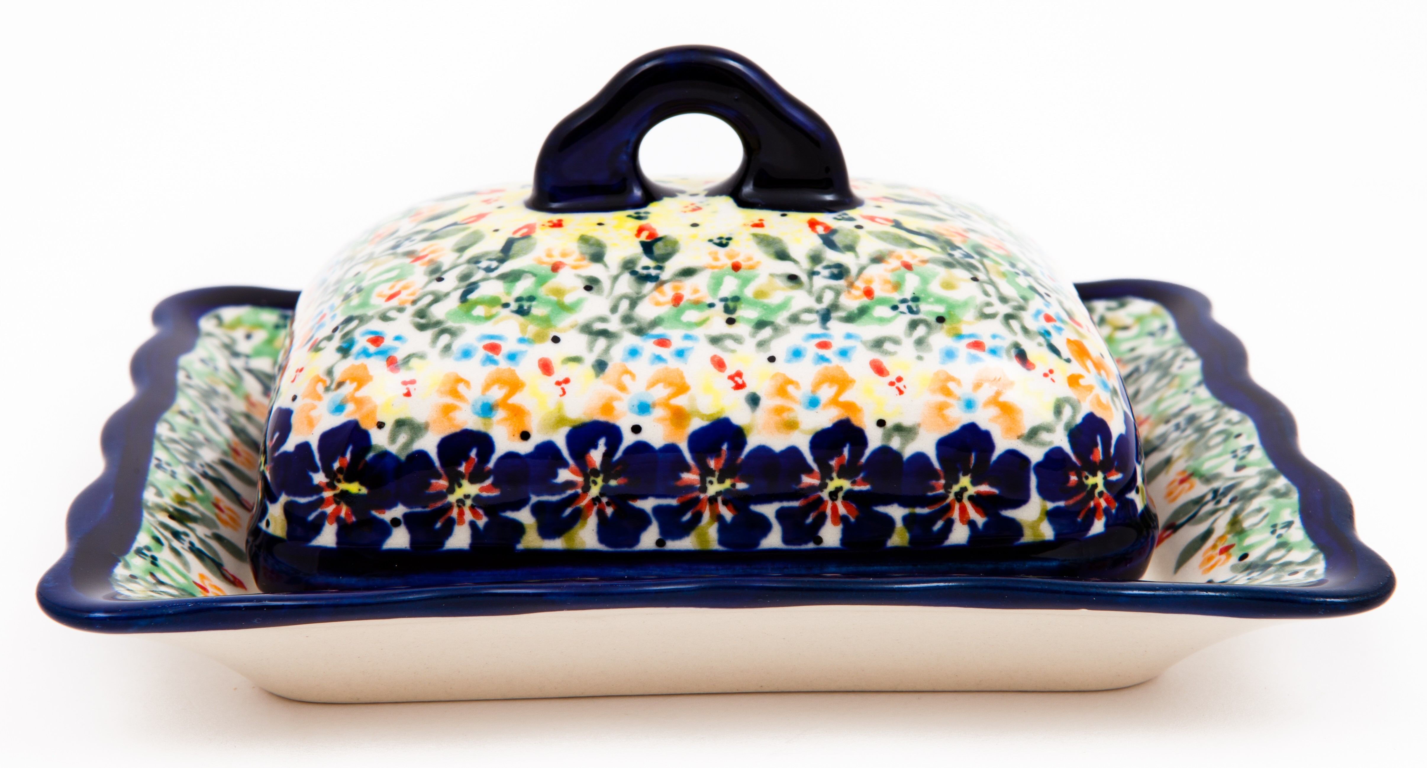 Polish Pottery FLOWERING SPLENDOR Francy Covered Stoneware Butter Dish | UNIKAT