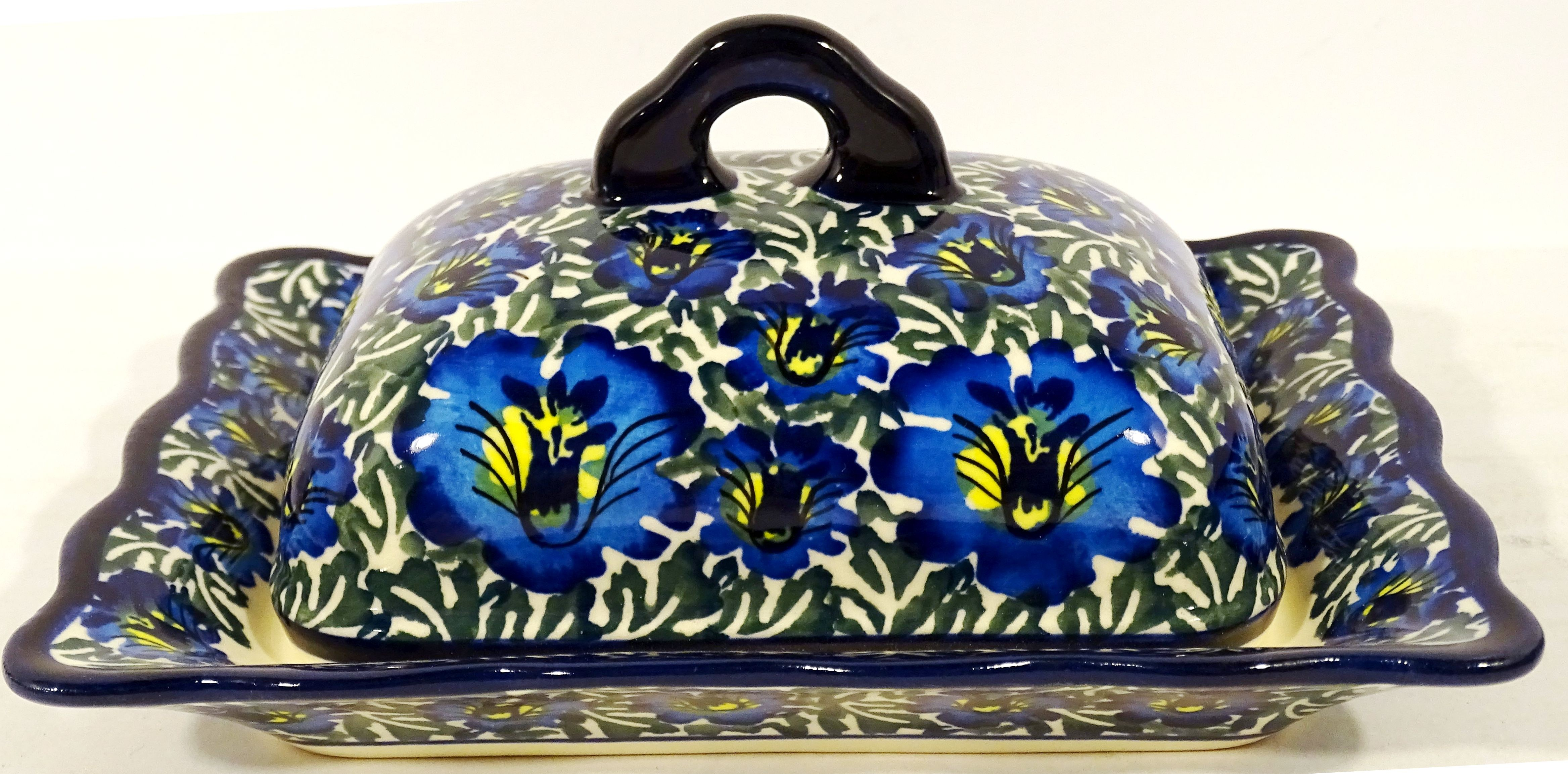 Pottery Avenue Fancy Covered Butter Dish - 1568-313AR Blue Lagoon