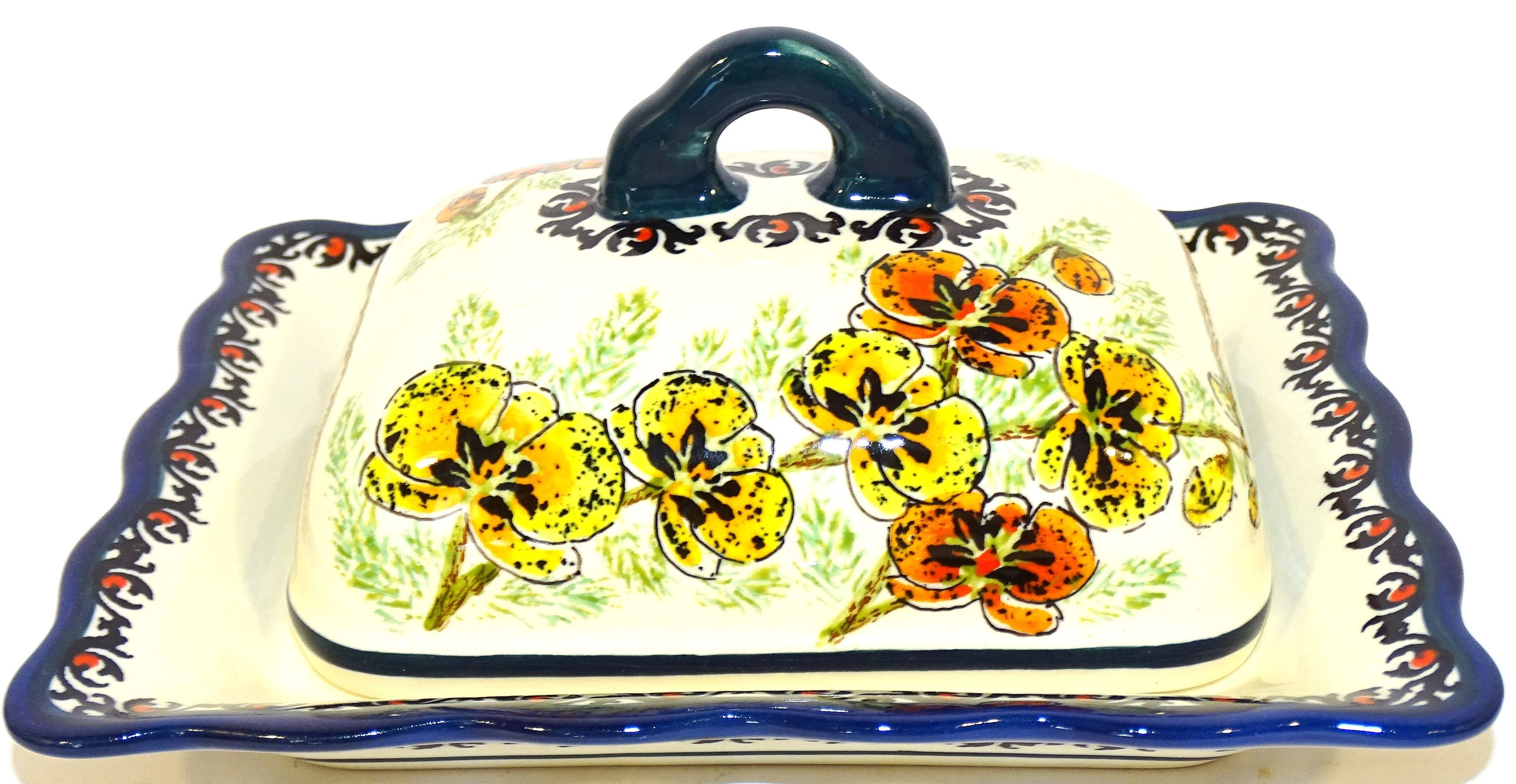 Polish Pottery ORCHID Covered Butter Dish | UNIKAT