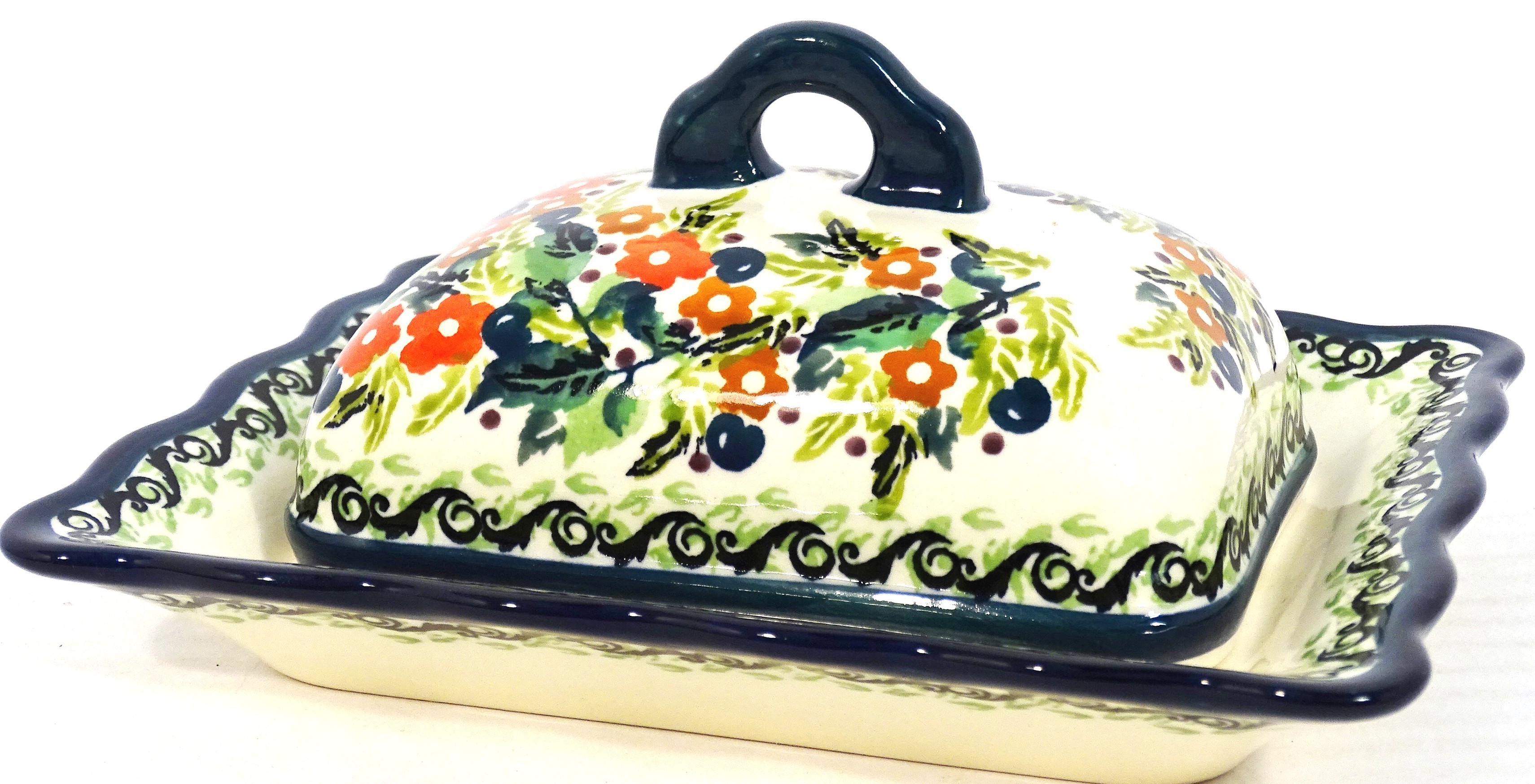 Polish Pottery SEASONS Covered Butter Dish | UNIKAT