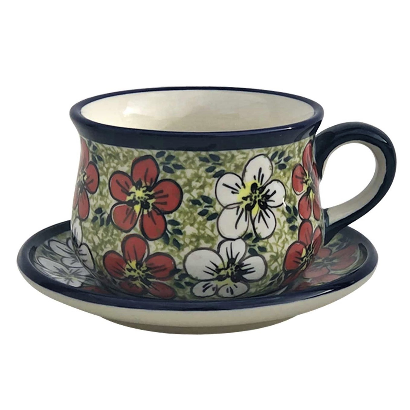Pottery Avenue 6.7-oz Stoneware Cup & Saucer Set - 1595-1596-331AR Red Bacopa