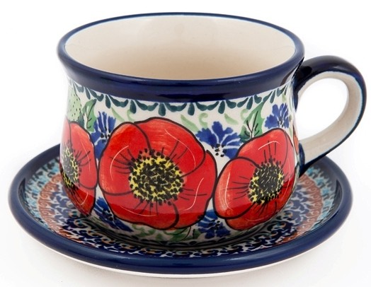 """Pottery Avenue 6.7oz Cup & Saucer 3.38"""" Tall in EX-UNIKAT BELLISSIMA - 1595-1596-257EX"""