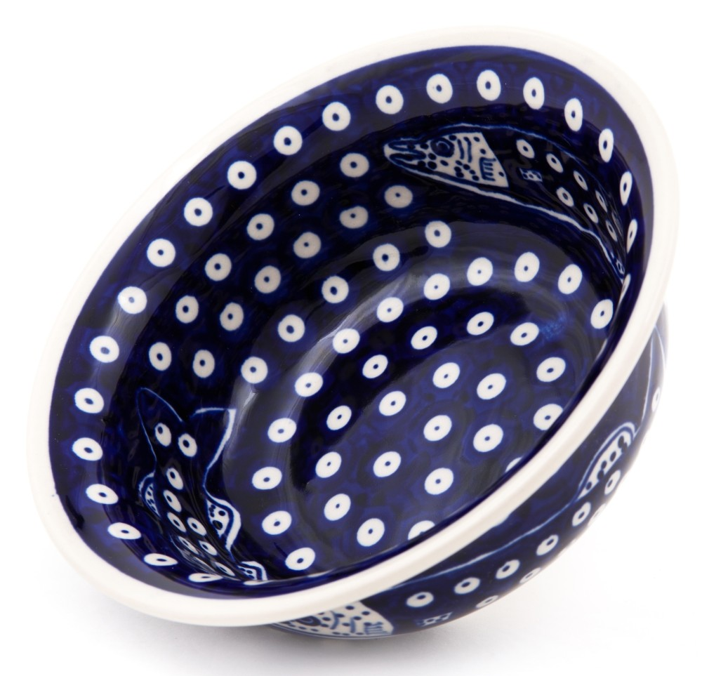 Polish Pottery DOTTY FISH 17-oz Flared Top Stoneware Bowl | ARTISAN