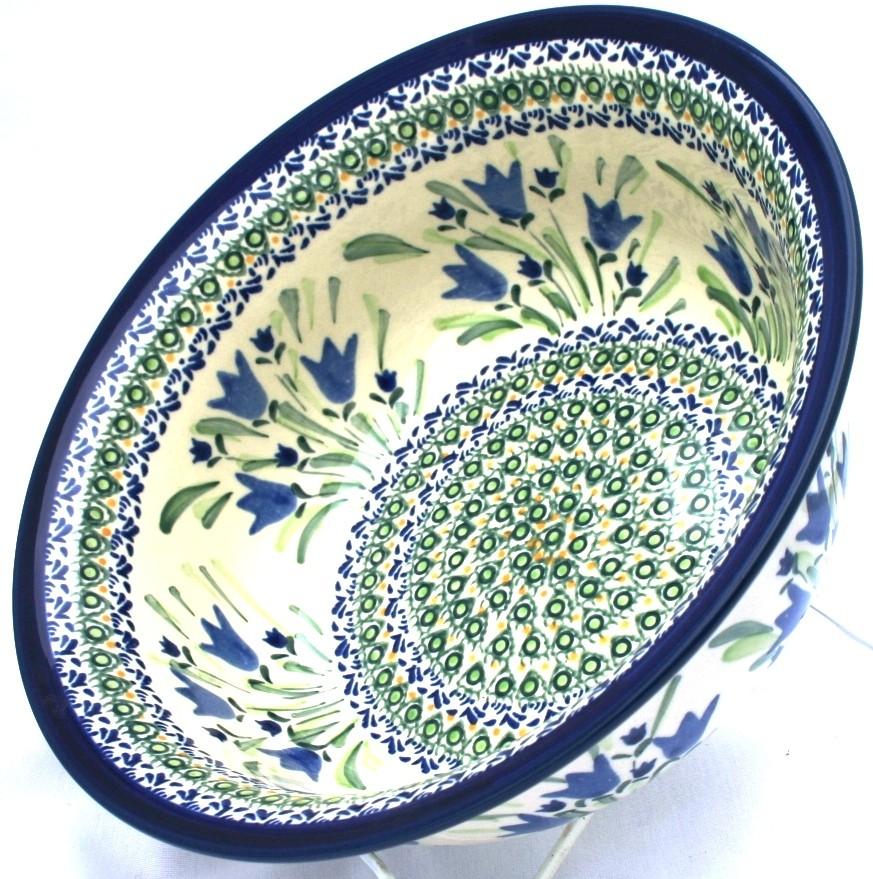 Polish Pottery BLUE TULIPS 61-oz Flared Top Stoneware Bowl | UNIKAT