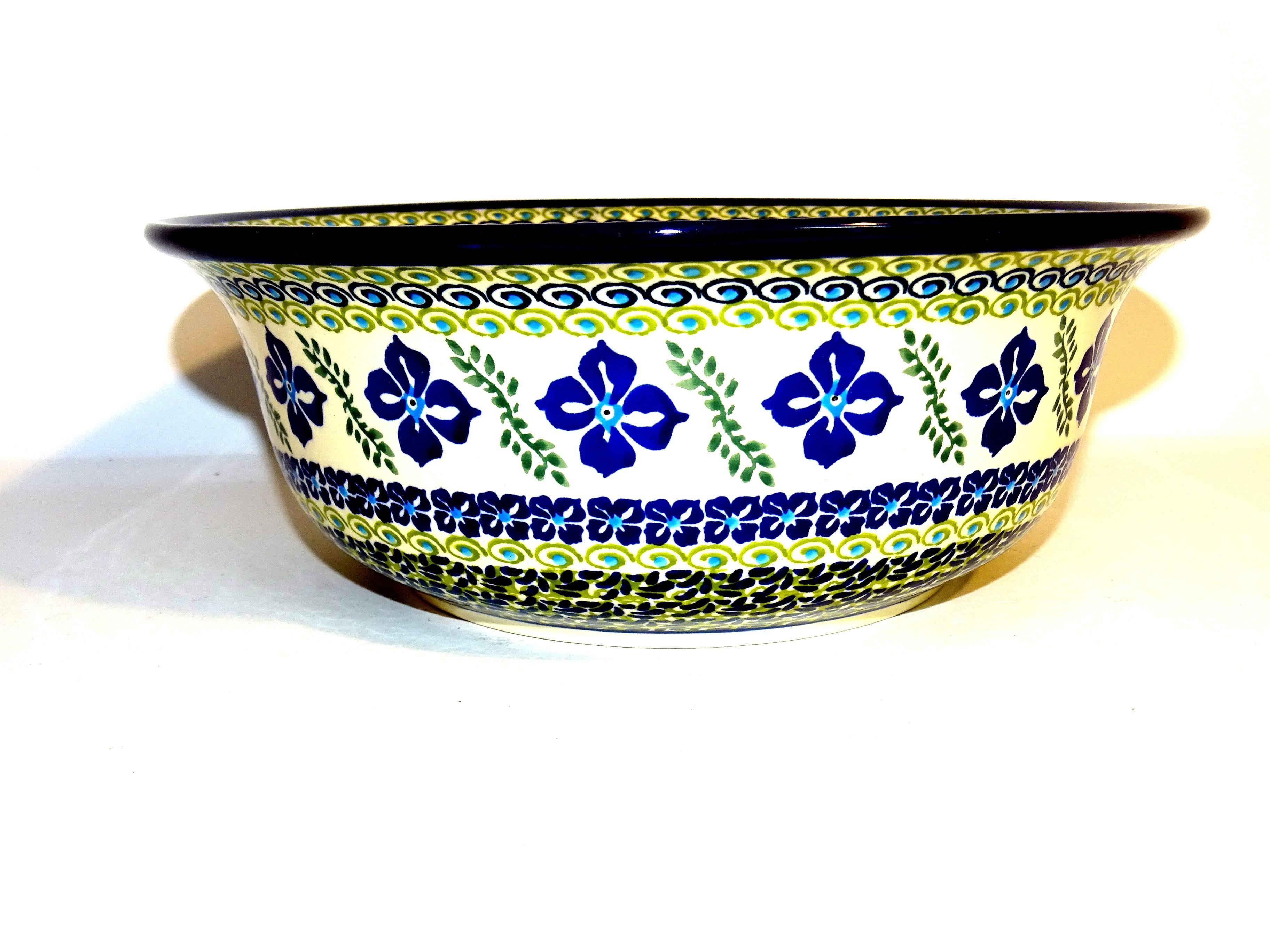 "Polish Pottery FLORAL ROYAL 10"" Serving Stoneware Bowl | ARTISAN"