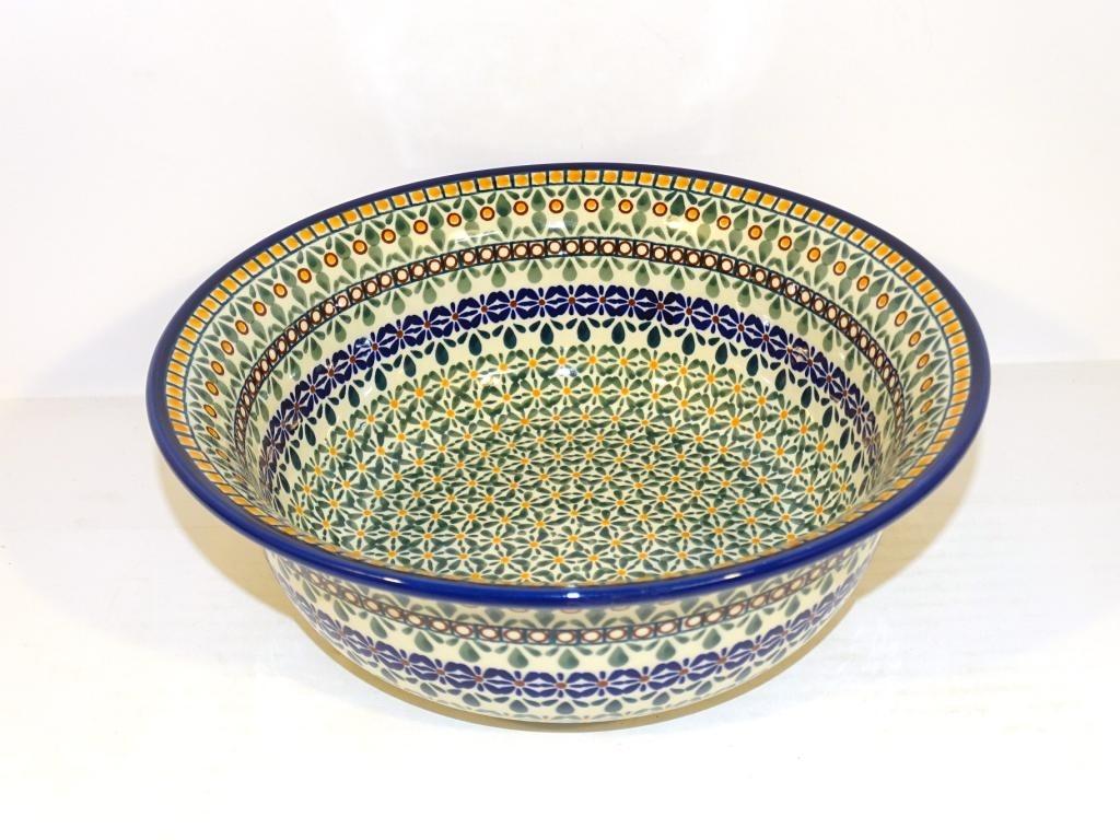 "Polish Pottery ENCHANTING 10"" Serving Stoneware Bowl | ARTISAN"