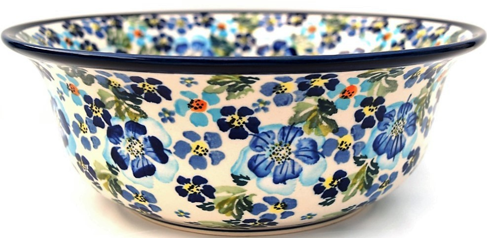 "Polish Pottery TRUE BLUES 10"" Stoneware Serving Bowls 